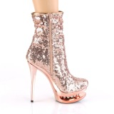 Gold Rose Sequins 15,5 cm BLONDIE-R-1009 pleaser ankle boots with platform
