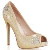 Gold Satin 13 cm HEIRESS-22R Rhinestone Platform Pumps Shoes