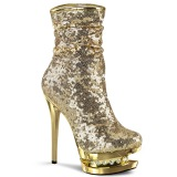 Gold Sequins 15,5 cm BLONDIE-R-1009 pleaser ankle boots with platform