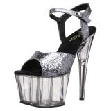 Gray 18 cm ADORE-710GT glitter platform high heels shoes