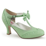 Green 7,5 cm retro vintage FLAPPER-11 Pinup Pumps Shoes with Low Heels