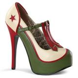 Green Beige 14,5 cm TEEZE-43 Womens Shoes with High Heels