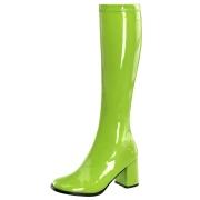 Green boots block heel 7,5 cm - 70s years style hippie disco gogo under kneeboots patent leather