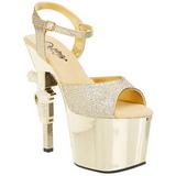Gull 18 cm Pleaser REVOLVER-709G høye hæler krom platå