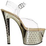 Gull 18 cm Pleaser STARDUST-708 høye hæler krom platå