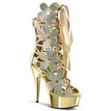 Gull suede 15 cm Pleaser DELIGHT-600-36 korte støvler platå