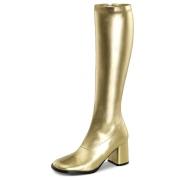 Gylne vinyl støvler blokkhæl 7,5 cm - 70 tallet hippie disco gogo - knehøye boots