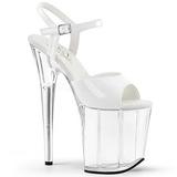 Hvit Gjennomsiktig 20 cm Pleaser FLAMINGO-809 platå høye hæler sko