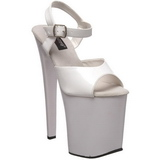 Hvit Lakk 20 cm Pleaser XTREME-809 høye hæler platå