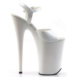 Hvit Lakk 23 cm INFINITY-909 platå høye hæler sko