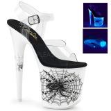 Hvit Neon 20 cm FLAMINGO-808SW platå høye hæler sko