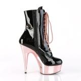 Lakklær 15,5 cm DELIGHT-1020 rosa krom platå ankel høye støvler