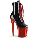 Lakklær 20 cm FLAMINGO-1020 rød krom platå ankel høye støvler