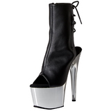 Leatherette Black 18 cm Pleaser ADORE-1018 Chrome Platform Ankle Calf Boots