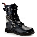 Leatherette Black DEFIANT-204 Mens Buckle Boots