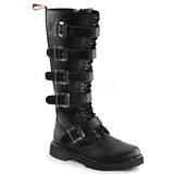 Leatherette Black DEFIANT-420 Mens Buckle Boots