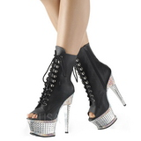 Leatherette rhinestones 16,5 cm ILLUSION-1021RS platform ankle boots