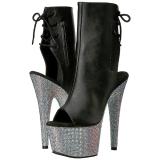 Leatherette rhinestones 18 cm BEJEWELED-1018D7 platform ankle boots