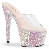 Opal 18 cm ADORE-701LG glitter platform mules womens