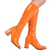 Oransj lakkstøvler blokkhæl 7,5 cm - 70 tallet støvler hippie disco gogo - knehøye boots