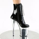 Patent 20 cm FLAMINGO-1020 Silver Chrome Platform Ankle Calf Boots