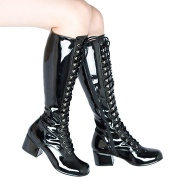 Patent lace up boots black 5 cm - 70s years style hippie disco gogo kneeboots