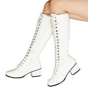 Patent lace up boots white 5 cm - 70s years style hippie disco gogo kneeboots