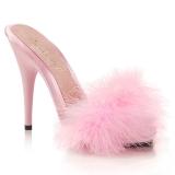 Pink 13 cm POISE-501F marabou fjær høye sko mules