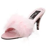 Pink 8 cm AMOUR-03 marabou fjær høye sko mules
