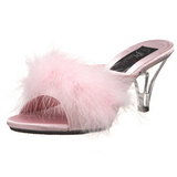 Pink Feathers 8 cm BELLE-301F High Women Mules Shoes for Men