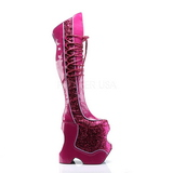 Pink Glitter 22 cm FABULOUS-3035 Thigh High Boots for Drag Queen