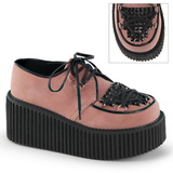 Pink Leatherette CREEPER-216 Platform Women Creepers Shoes
