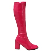 Pink lakkstøvler blokkhæl 7,5 cm - 70 tallet støvler hippie disco gogo - knehøye boots