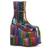 Rainbow Hologram 18 cm STACK-201 Platform Mens Ankle Boots