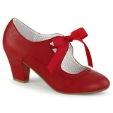 Red 6,5 cm WIGGLE-32 retro vintage cuben heels maryjane pumps