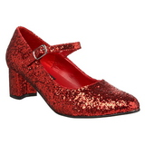 Red Glitter 5 cm SCHOOLGIRL-50G Pumps Mary Jane