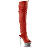 Red Leatherette 16,5 cm ILLUSION-3019 Platform Thigh High Boots