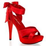 Red Satin 13 cm COCKTAIL-568 High Heeled Sandal Shoes