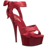 Red Satin 15 cm DELIGHT-668 High Heeled Evening Sandals