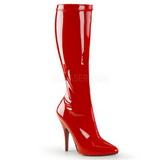 Red Shiny 13 cm SEDUCE-2000 High Heeled Womens Boots for Men