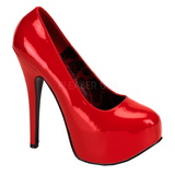 Red Shiny 14,5 cm Burlesque BORDELLO TEEZE-06 Platform Pumps