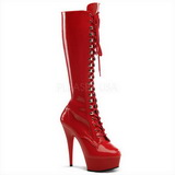 Red Shiny 15,5 cm DELIGHT-2023 Platform Knee Boots