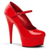 Red Shiny 15 cm PLEASER DELIGHT-687 Platform Pumps