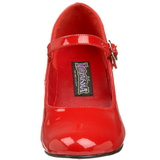 Red Shiny 5 cm SCHOOLGIRL-50 Low Heeled Classic Pumps Shoes