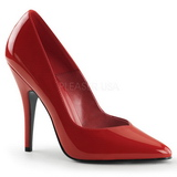 Red Varnished 13 cm SEDUCE-420V pointed toe pumps with high heels