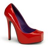 Red Varnished 14 cm BONDAGE-01 Women Pumps Shoes Flat Heels