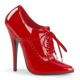 Red Varnished 15 cm DOMINA-460 Women Pumps Shoes Flat Heels