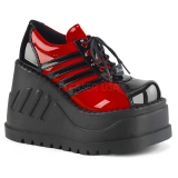 Red Vegan 12,5 cm STOMP-08 lolita ankle boots wedge platform