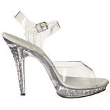 Rhinestone Sølv 13 cm Fabulicious LIP-108SDT høye hæler damer sko