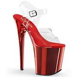 Rød 20 cm FLAMINGO-808 krom platå høye hæler sko